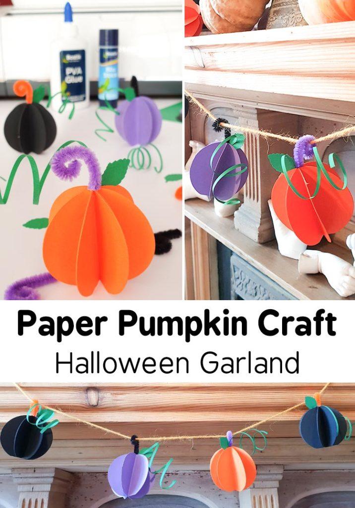 Paper Pumpkin Craft Halloween Garland